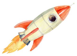 illustration of the flying rocket