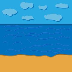 Cartoon beach realistic background. vector