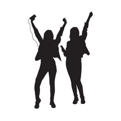 Two Dancing Girl Black Silhouette Female Figure Isolated Over White Background Vector Illustration