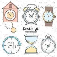Set of doodle sketch watches. Alarm clocks, sand glasses, stop-watch and timer. Time icon in cartoon style. Vector illustration.
