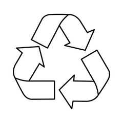 silhouette recycling symbol with arrows vector illustration