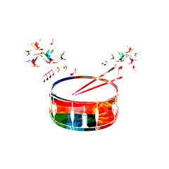 Colorful drum with music notes and hummingbirds isolated vector illustration. Music instrument background for poster, brochure, banner, flyer, concert, music festival