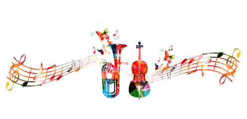 Colorful euphonium and violoncello with music notes and butterflies isolated vector illustration. Music instrument background for poster, brochure, banner, flyer, concert, music festival