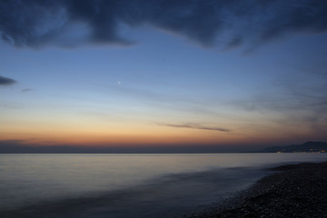 Sea at sunset at the first star