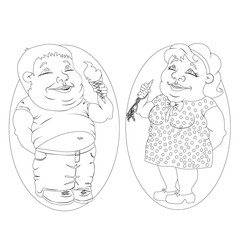 Fat man and woman eating ice cream and carrots. White and black picture