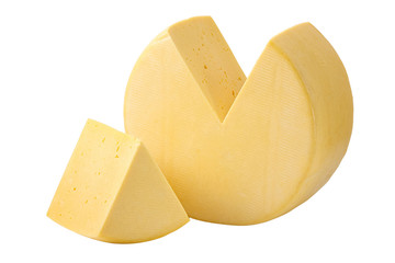 Cheese wheel and sector isolated with clipping path