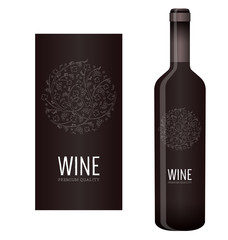 Vector wine label with chalk floral ornament of grape bunches and grape leaves
