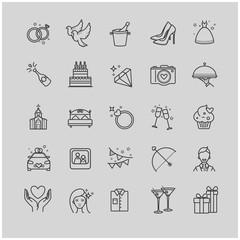 Outline icons - wedding, love set