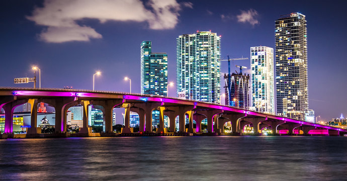 Miami Downtown Skyline behind MacArthur Causeway
