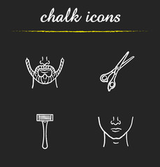 Barbershop chalk icons set