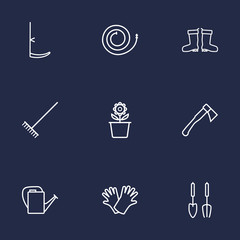 Set Of 9 Household Outline Icons Set.Collection Of Safer Of Hand , Instruments, Plant Pot Elements.