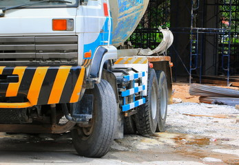 close up heavy concrete truck on construction site