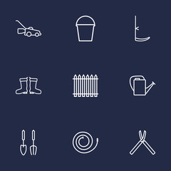 Set Of 9 Farm Outline Icons Set.Collection Of Shears, Scythe, Pail And Other Elements.