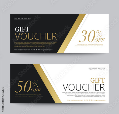 Voucher Template | Gift Voucher Template Promotion Sale Discount Gold Background