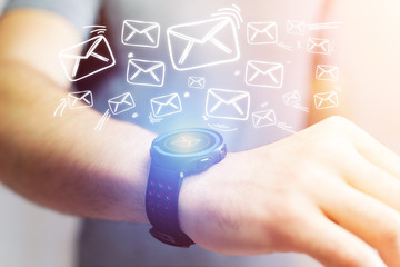Concept of sending email with a technology  smartwatch interface