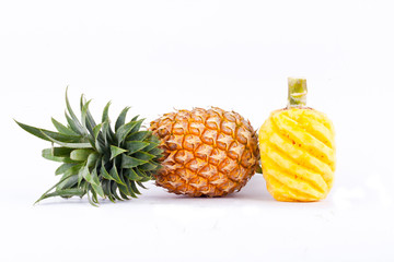 peeled  pineapple and fresh ripe pineapple  on white background healthy pineapple fruit food isolated