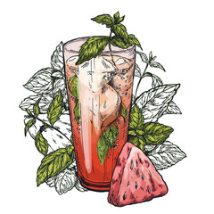 mojito cocktail, watermelon and mint leaves