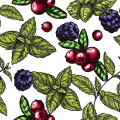 Seamless pattern with mint leaves, cranberries  and blackberries
