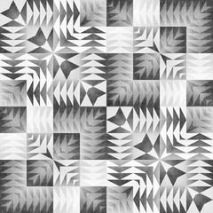 Monochrome Tribal Seamless Pattern. Aztec Style Abstract Geometric Art Print.