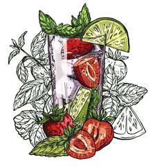 mojito cocktail, strawberry