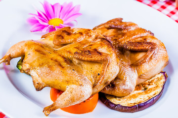 Griiled quail with vegetables on white plate