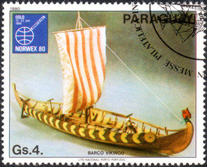 UKRAINE - CIRCA 2017: A postage stamp printed in Paraguai shows Viking ship, from the series International stamps exhibitions: ship paintings, circa 1980