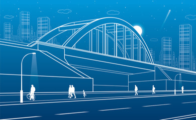 Railway bridge, urban infrastructure, night city on background, people walking, industrial architecture, white lines illustration, vector design art
