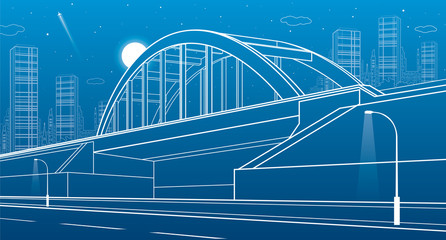Railway bridge, urban infrastructure, night city on background, industrial architecture, white lines illustration, vector design art