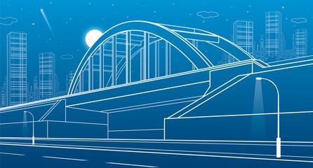 Railway bridge, urban infrastructure, night city on background, industrial architecture, white lines illustration, vector design art