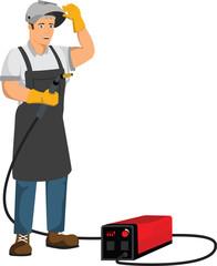 welder worker with equipment