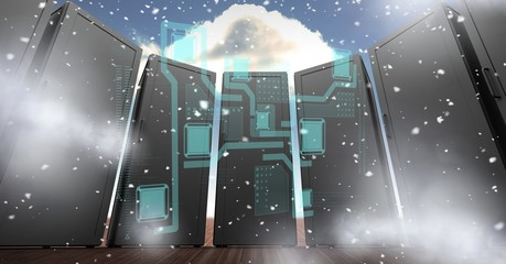 Digitally generated image of servers with various icons in sky