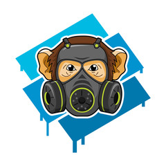 MONKEY PROTECTION. chemical attack illustration