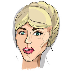 Vector portrait of a young cute woman with blond hair collected in a beautiful hairstyle and light fresh make-up. Print