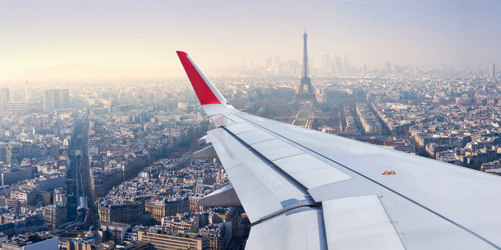 Paris Cityscape View from Airplane Window