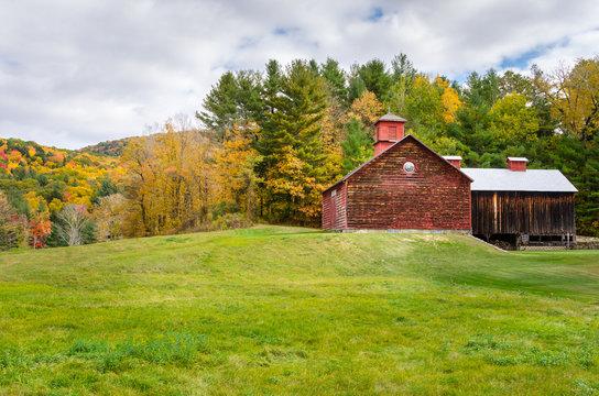 Wooden Barn in a Rural Landscape in Autumn. The Berkshires, Massachusetts, USA