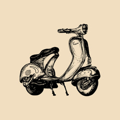 Hand sketched scooter. Vector vintage retro motorroller illustration for poster, banner, card etc.