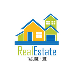 real estate logo with text space for your slogan / tagline, vector illustration