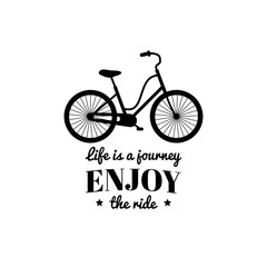 Life is a journey,enjoy the ride vector illustration of hipster bicycle in flat style.Inspirational poster for store etc