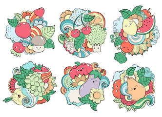 Pattern with fruits, vegetables and berries. Template for packaging, postcards, web design. Printing on textiles. Bright colorful cartoon background. Healthy Vegetarian Food. Set of elements