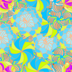 abstract background with flower drawing blue and yellow