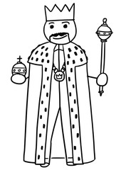 Vector Stickman Cartoon of King Posing with Crown, Sceptre and royal apple