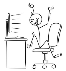Vector Stick Man Cartoon of Very Happy Man Watching Computer Screen and Celebrating Success