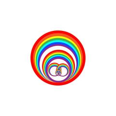 Rainbow circle on white background