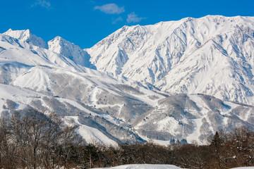 白馬の雪山の雪景色