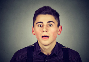 Portrait of a surprised young man