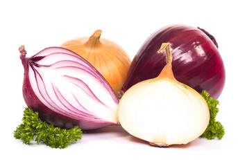 bulbs of onion red and yellow on a white background