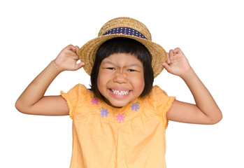 asian chlid funny face isolated