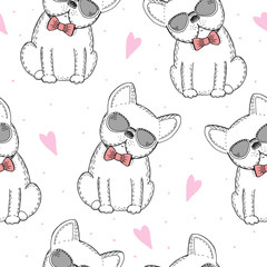 seamless pattern with Black and white vector sketch of a dog. Vector Illustration