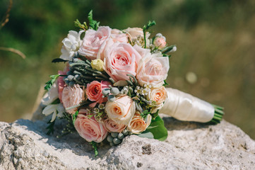 Foto op Canvas Bloemen wedding dress, wedding rings, wedding bouquet
