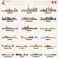 vector set of Canada largest cities and all states capitals skylines with location icons: Canadian map and flag